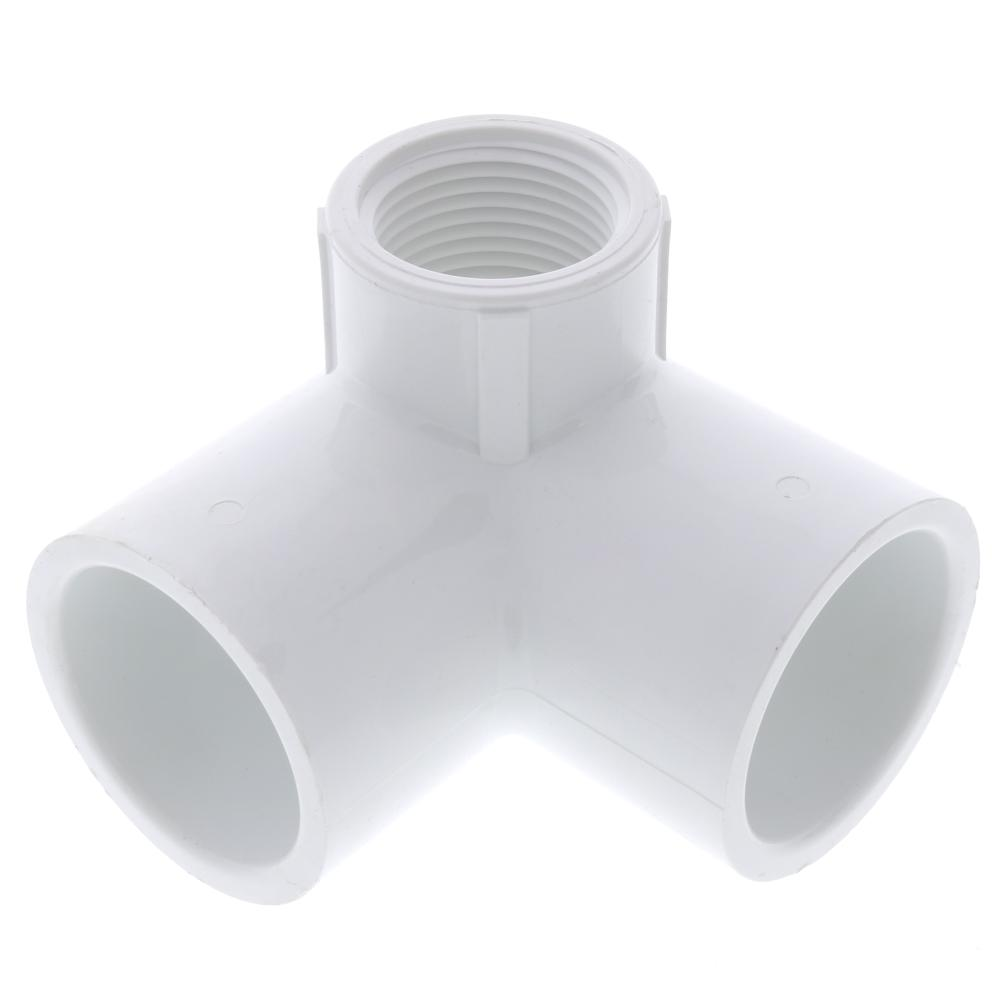 Schedule 40 PVC 3-Way Elbow Adapter: Slip x Slip x FPT