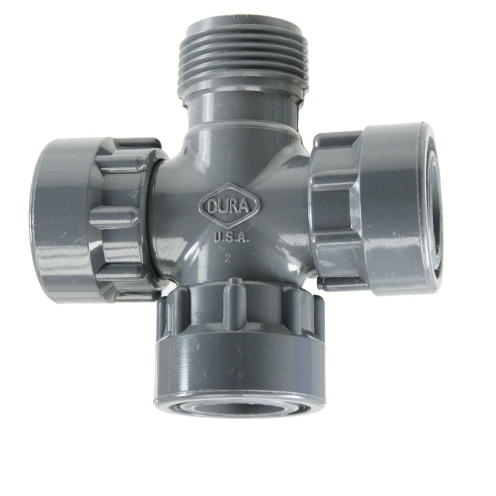 "Manifold System Cross:1"" FPT Swivel x 1\"" MPT x 1\"" FPT Swivel x 1\"" FPT Swivel"
