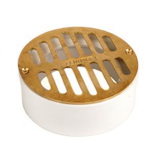 Tempo Flat Brass Grate w/ PVC Collar