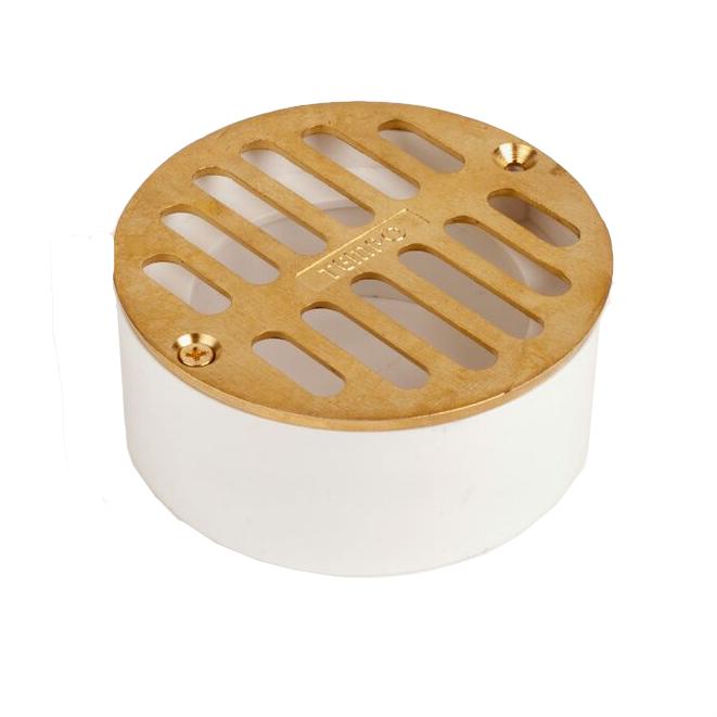 Flat Brass Grate w/ PVC Collar